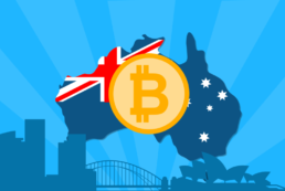 Bitcoin Australia How to buy Bitcoin in Australia with flag and BTC coin with blue back ground
