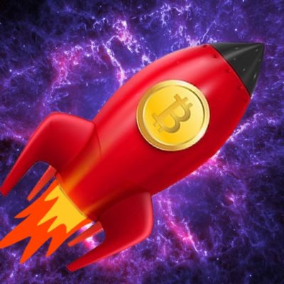 Bitcoin logo on rocket ship with purple space back ground